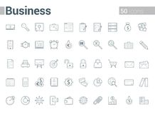 Simple and clean Vector line Business icons set. Set of 50 Business Icons suitable for Banner, Bunting, User Interface, Website, Infographics, and Applications Royalty Free Stock Image