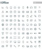 Simple and clean Vector line for Office icons set. Set of 100 Ofiice Icons suitable for Banner, Bunting, User Interface, Website, Infographics, and Applications Stock Photography