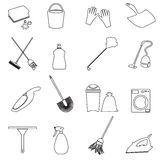 Simple cleaning tools outline icons set eps10 Stock Photo