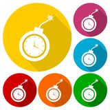 Simple clock bomb icons set with long shadow Royalty Free Stock Photography