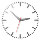 Simple clock face with metal hands and marks and red second hand Royalty Free Stock Images