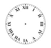 Roman Numeral Clock. Simple clock face with roman numeral figures stock illustration