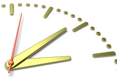 Simple clock face with yellow metal hands and marks, diagonal vi Stock Image