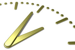 Simple clock face with yellow metal hands and marks diagonal vie Royalty Free Stock Photography