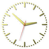 Simple clock face with yellow metal hands and marks and red seco Royalty Free Stock Photos