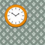 Clock on seamless floral wallpaper background Stock Images