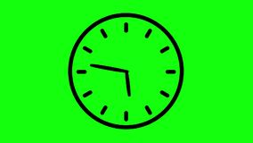 Simple clock seamless loop animation on green screen minutes and hours timelapse.  stock illustration
