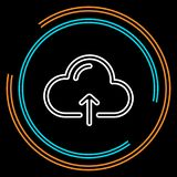Simple Cloud Upload Thin Line Vector Icon vector illustration