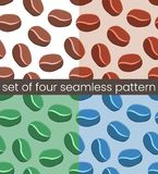 4 Simple coffee seamless pattern stock illustration