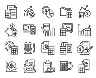 Simple collection of accounting related line icons. Thin line vector set of signs for infographic, logo, app development and website design. Premium symbols vector illustration