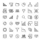 Simple collection of analysis related line icons. Thin line vector set of signs for infographic, logo, app development and website design. Premium symbols Stock Image