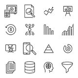 Simple collection of analysis related line icons. Thin line vector set of signs for infographic, logo, app development and website design. Premium symbols Royalty Free Stock Images