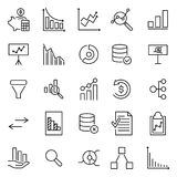 Simple collection of analysis related line icons. Thin line vector set of signs for infographic, logo, app development and website design. Premium symbols Stock Images