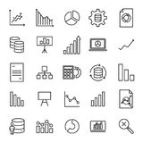 Simple collection of analysis related line icons. Thin line vector set of signs for infographic, logo, app development and website design. Premium symbols Stock Photo