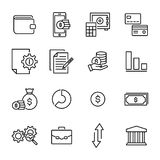 Simple collection of banking related line icons. Thin line vector set of signs for infographic, logo, app development and website design. Premium symbols Stock Photography