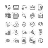 Simple collection of banking related line icons. Thin line vector set of signs for infographic, logo, app development and website design. Premium symbols Royalty Free Stock Image