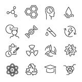 Simple collection of biotechnology related line icons. Stock Photo