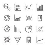 Simple collection of business data related line icons. Thin line vector set of signs for infographic, logo, app development and website design. Premium symbols Stock Images
