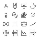 Simple collection of business related line icons. Thin line vector set of signs for infographic, logo, app development and website design. Premium symbols Royalty Free Stock Images