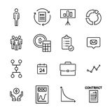 Simple collection of business related line icons. Thin line vector set of signs for infographic, logo, app development and website design. Premium symbols Stock Photos