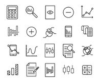 Simple collection of calculation related line icons. Thin line vector set of signs for infographic, logo, app development and website design. Premium symbols Royalty Free Stock Images