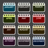 Simple collection of calendar months icons. Royalty Free Stock Photos