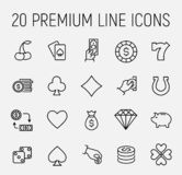 Simple collection of casino related line icons. vector illustration