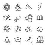 Simple collection of chemistry related line icons. Thin line vector set of signs for infographic, logo, app development and website design. Premium symbols Royalty Free Stock Photo