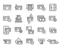 Simple collection of credit card related line icons. Thin line vector set of signs for infographic, logo, app development and website design. Premium symbols Royalty Free Stock Photography