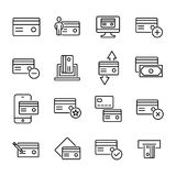 Simple collection of credit card related line icons. Thin line vector set of signs for infographic, logo, app development and website design. Premium symbols Stock Image