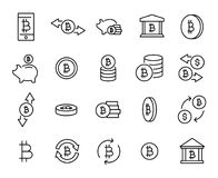 Simple collection of cryptocurrency related line icons. vector illustration