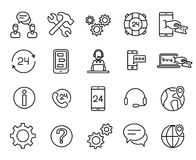 Simple collection of customer service related line icons. Thin line vector set of signs for infographic, logo, app development and website design. Premium Stock Photo