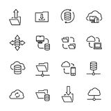 Simple collection of data exchange related line icons. Thin line vector set of signs for infographic, logo, app development and website design. Premium symbols Royalty Free Stock Photo