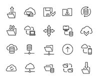 Simple collection of data exchange related line icons. Thin line vector set of signs for infographic, logo, app development and website design. Premium symbols Stock Images