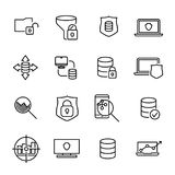 Simple collection of data protection related line icons. Thin line vector set of signs for infographic, logo, app development and website design. Premium Royalty Free Stock Image