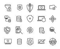 Simple collection of data protection related line icons. Thin line vector set of signs for infographic, logo, app development and website design. Premium Royalty Free Stock Photo