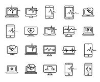 Simple collection of diagnostic related line icons. Thin line  set of signs for infographic, logo, app development and website design. Premium symbols isolated Royalty Free Stock Images