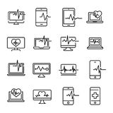 Simple collection of diagnostic related line icons. Thin line vector set of signs for infographic, logo, app development and website design. Premium symbols Stock Image