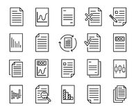 Simple collection of document related line icons. stock illustration