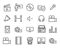 Simple collection of entertainment related line icons. Royalty Free Stock Photography