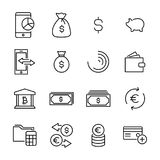 Simple collection of finance related line icons. Thin line vector set of signs for infographic, logo, app development and website design. Premium symbols Stock Photo
