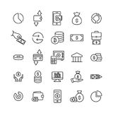 Simple collection of finance related line icons. Thin line vector set of signs for infographic, logo, app development and website design. Premium symbols Stock Photos