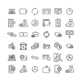 Simple collection of finance related line icons. Thin line vector set of signs for infographic, logo, app development and website design. Premium symbols Royalty Free Stock Photos