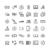 Simple collection of finance related line icons. Thin line vector set of signs for infographic, logo, app development and website design. Premium symbols Royalty Free Stock Photography
