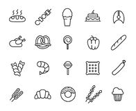 Simple collection of food related line icons. royalty free illustration