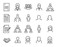 Simple collection of human resources HR related line icons. Thin line vector set of signs for infographic, logo, app development and website design. Premium Stock Photo