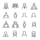 Simple collection of human resources HR related line icons. Thin line vector set of signs for infographic, logo, app development and website design. Premium Royalty Free Stock Photos