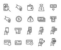 Simple collection of internet banking related line icons. Thin line vector set of signs for infographic, logo, app development and website design. Premium Royalty Free Stock Photo