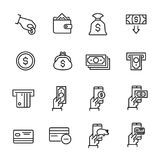 Simple collection of internet banking related line icons. Thin line vector set of signs for infographic, logo, app development and website design. Premium Royalty Free Stock Photos