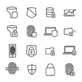 Simple collection of internet security related line icons. Stock Image